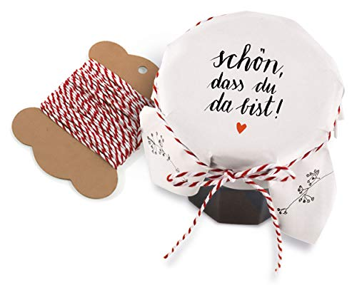 25 Marmeladendeckchen - schön, DASS du da bist - Gläserdeckchen Weiß mit Blumen für Marmelade, Marmeladengläser & Einmachgläser, Recyclingpapier Abreißblock + 10 m Garn + Justiergummi