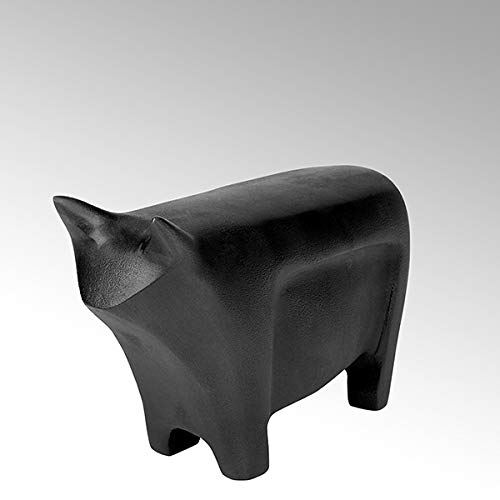 Lambert Bull Figur Alu Sandguß Anthrazit Patina L17Cm