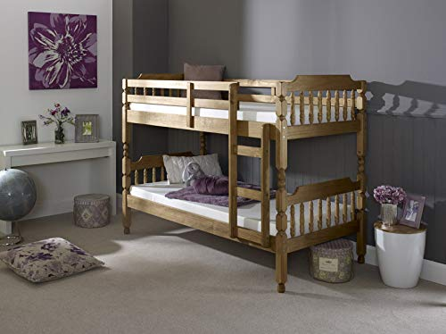 MissionTM 2'6 Small Single Colonial Spindle Bunk Bed in Waxed Pine (Memory 5000 Mattress)