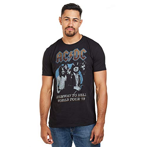 AC/DC ACDC-Highway World Tour 79' -s T-Lrg Camiseta, Negro (Black Blk), Large (Talla del Fabricante: Large) para Hombre