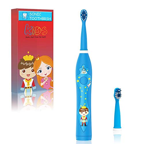 OJV Kids Sonic Musical Electric Toothbrushes for Children, 3 Modes, 2-Min Timer, IPX7 Waterproof, 31000 Strokes, 2 Bristles, USB Rechargeable Smart Cartoon Toothbrush for Boys Age 3-12 (8620, Blue)