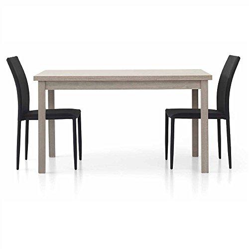 Table en chêne Gris comportant 2 rallonges DE 40 cm, Style Moderne, en MDF laminé et Structure en Acier - Dim. 130 x 80 x 75