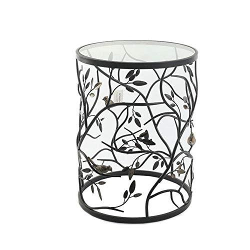 Jcnfa-bijzettafel Metalen vogel lassen bijzettafel, Woonkamer balkon bank kleine ronde tafel, Ronde gehard glas salontafel