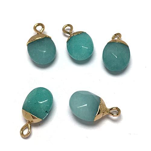 LLTT Colgante de piedra natural, forma ovalada, exquisito colgante para hacer joyas, collar y pendientes (color del metal: aventurina verde)