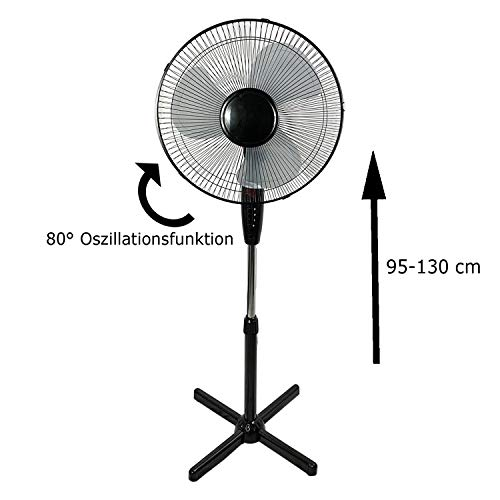 Afkoeling nodig? Staande ventilator, Ø 40 cm, oscillerende ventilator, luchtkoeler met nachtlampje, 3 snelheden, kleur zwart