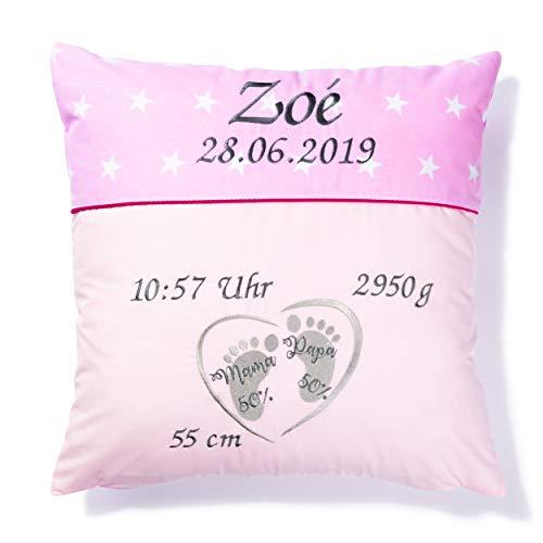 Amilian Kissen 40 x 40 cm mit Namen und Datum bestickt, Geschenk zur Geburt, Taufe, zum Namenstag personalisiert, fürs Baby, Kinder, inkl. Bezug 100% Baumwolle Sternchen Rosa/Füßchen
