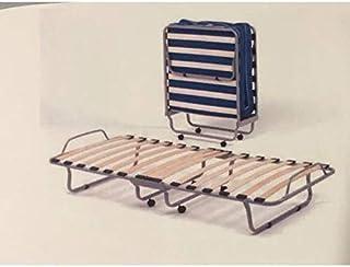 Lucky - Cama plegable de metal con colchón de 80 x 190 cm, 15 láminas