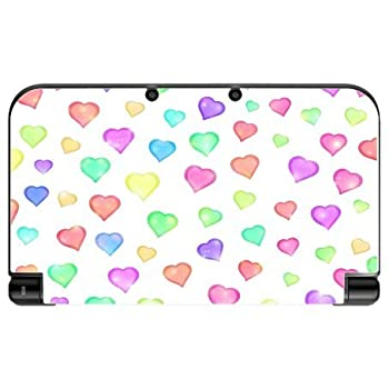 Love Hearts Pattern Background Red Purple Green Yellow Blue Pink Vinyl Decal Sticker Skin by Moonlight Printing for New 3DS XL 2015