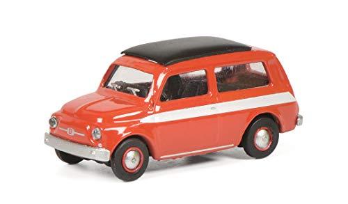 Schuco Fiat 500 Giardiniera Modellino Veicolo Scala 1:87 Rosso con Strisce Bianche su Entrambi i Lati, 452651500