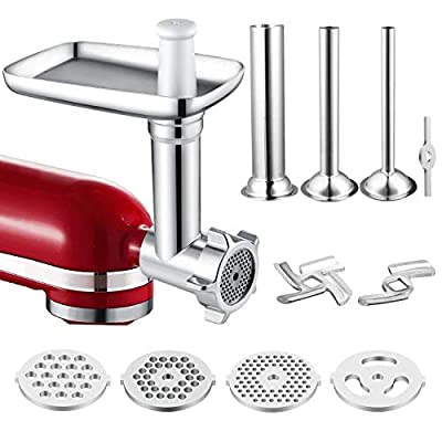 Food Meat Grinder Attachment Compatible for KitchenAid Stand Mixers Included Sausage Stuffer/Grinding Plates/Grinding Blade Accessory