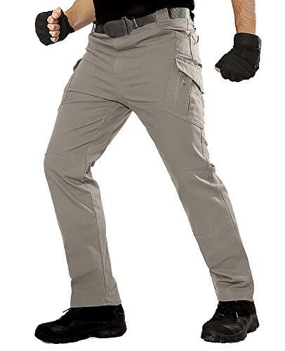 TACT BESUHerren Cargohose Outdoor Militär Tactical Hose Männer Stretch Arbeitshose mit Multi Taschen- Gr. 34 (XL), Khaki