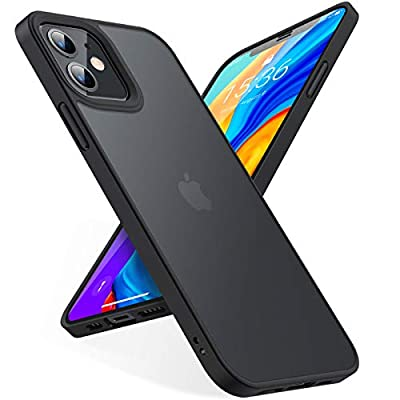 TORRAS Shockproof Designed for iPhone 12 Mini Case [Military Grade Drop Tested] Translucent Matte Hard Case with Soft Silicone Bumper, Slim Fit Protective Case for iPhone 12 Mini 5.4 Inch, Black