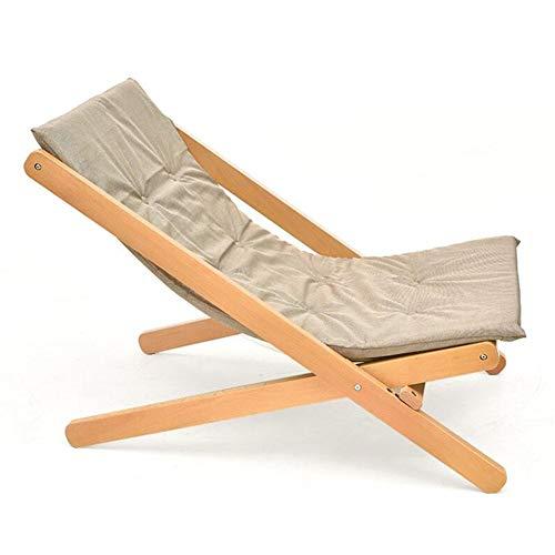 Dall Inclinable Pliant Chaise De Canapé Portable Paresseux Patio De Jardin Camping Chaise Longue Rembourrés Cadre en Bois (Color : Khaki)