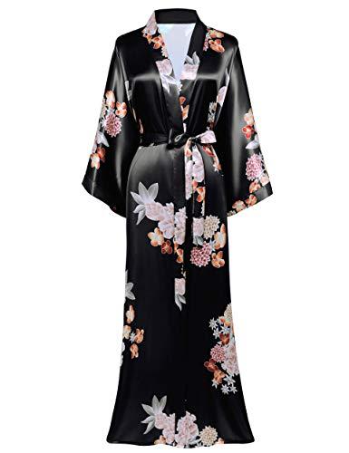 Coucoland Damen Morgenmantel Maxi Lang Satin Sommer Kimono Kleid Blumen Muster Kimono Bademantel Damen Lange Robe Blumen Schlafmantel Girl Pajama Party (Schwarz)