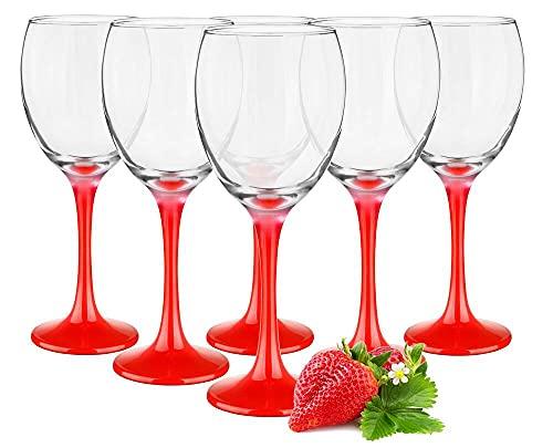 Juego de 6 copas de vino tinto rojo / copas de vino tinto, vino blanco, copa de agua...