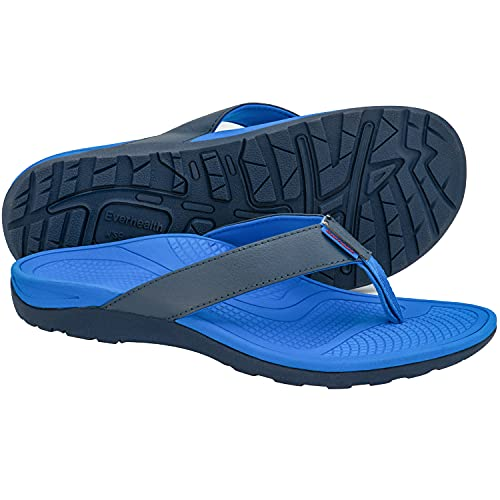 Everhealth Infradito Uomo Ortopediche Sandali Mare Pantofole Sportivi Ciabatte da Spiaggia e Piscine, Sandali per Sostegno dell'Arco Plantare (Blue EUR 43)