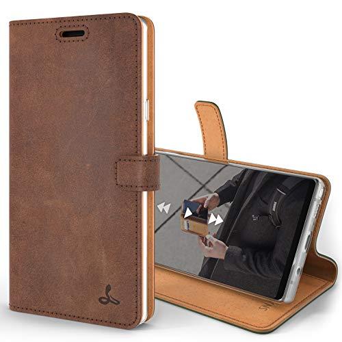 Snakehive Note 9 Handy Schutzhülle/Klapphülle echt Lederhülle mit Standfunktion, Handmade in Europa für Note 9 - (Braun)