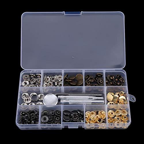 40 juegos de sujetadores a presión de cuero, botones de metal, broches de presión con herramienta de ajuste para chaquetas de ropa, ropa de jeans, bolsos(12MM)