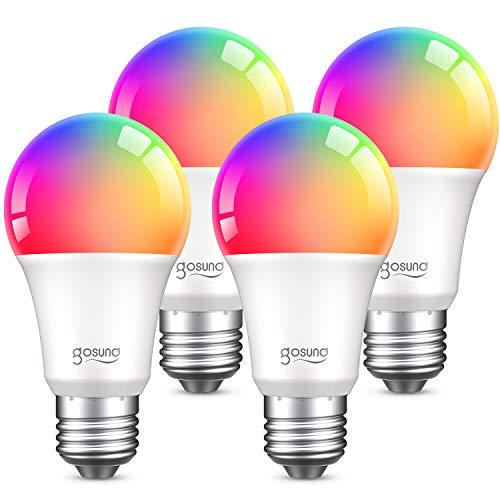 E27 Glühbirne, Gosund Alexa Lampe Wlan Mehrfarbige Dimmbare Lampe Kompatibel mit Amazon Alexa Echo, Echo Dot Google Home Kein Hub Erforderlich Smart Birne Glühbirne (4 packs)
