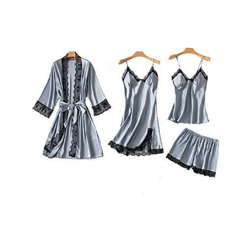Chongmu damen 4st. seiden pyjama sets cami top sexy satin spitze nachthemd langã¤rmelig bademantel shorts v ausschnitt schlafrock