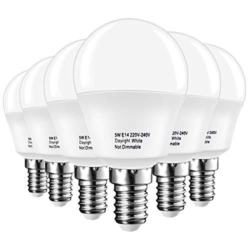 Lakes E14 LED Lampen Birne, Kleine Edison Schraube Golf Ball P45 Birne, 5W 450LM (40W Glühbirne Äquivalent), Tageslicht Weiß 6000K, 6-Pack