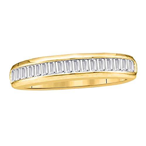 Dazzlingrock Collection Alianza de boda de diamante baguette de 0,15 quilates, oro amarillo de 14 quilates, talla 5