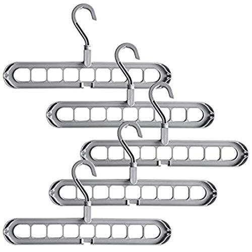Kuinayouyi - Grucce portaoggetti per appendere i vestiti, con 9 fori, in plastica robusta, colore: grigio