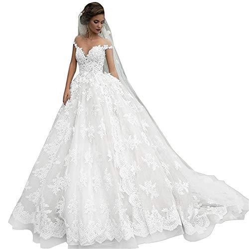 Women's Off Shoulder V-Neck Backless Lace Appliques Country Wedding Dresses Bridal Gowns for Bride