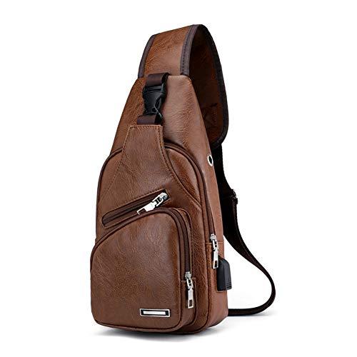 Bandolera para hombre, bolso bandolera de cuero de PU informal elegante y resistente al agua con puerto de carga USB Mochila de hombro en el pecho, se adapta a viajes, senderismo, deporte, negocios