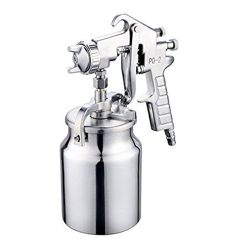 nuzamas Saugnapf-Feed Air Spray Gun 2.0mm Edelstahl Düse 1000ml Fassungsvermögen Airbrush Werkzeug für Auto Möbel Gemälde Hand Held Paint Sprayer