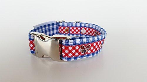 stitchbully Hundehalsband Oktoberfestdesign Bayerische Gemütlichkeit blau-weiß kariert + rotes Webband 25mm Bavria Style - bayrisch