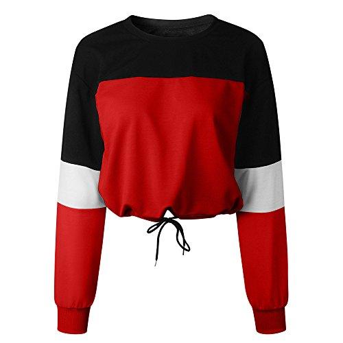 Bauchfrei T-Shirt Damen, MORETIMEDamen Bauchfrei Pullover Brief Drucken Casual Langarm Sweatshirt Kurz Sport Crop Tops Oberteile Sweatjacke Shirts Hemd Bluse