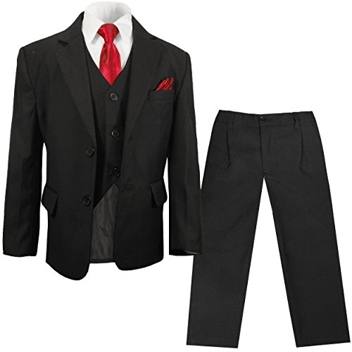 Paul Malone - festlicher Jungen Anzug für Kinder schwarz Set 6tlg (tailliert) / Kommunionanzug Taufanzug Konfirmationsanzug 10