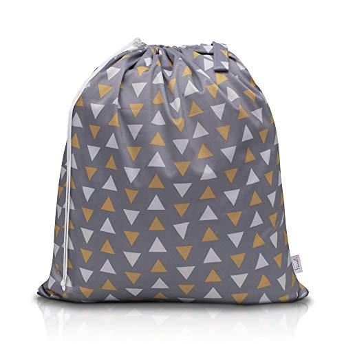 Feineli® Wäschesammler Wetbag (Geometrische Dreiecke) - 63x70cm - Wäschebeutel mit Schlaufe und Kordelzug, wasserabweisender Wäschesack, ideal für Wäscheeimer und Wäschetonnen