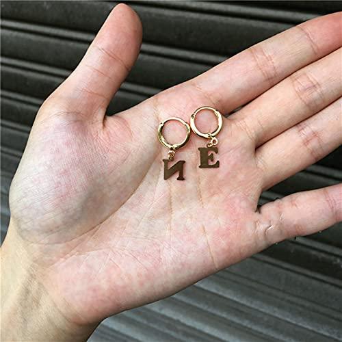 CXWK Pendientes de aro con Letras pequeñas para Mujer Pendientes de aro con una Sola Inicial de Oro Pendientes de aro Colgantes pequeños y Sencillos