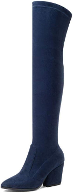 FMWLST Stiefel Frauen Über Das Knie Knie Knie Hohe Stiefel High Heels Winter Damenschuhe Strecken Stoff Damen Stiefel  825877