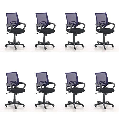 Lüllmann Genius - Silla giratoria de oficina (8 unidades), color morado