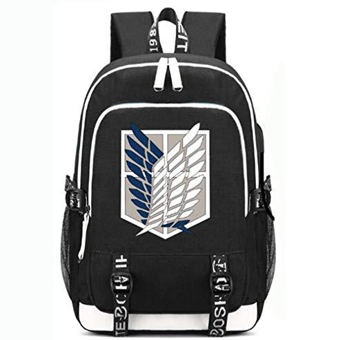 XYUANG Anime Cosplay backpack Attack On Titan Mochila de viaje unisex bolsa Bolso de escuela Black