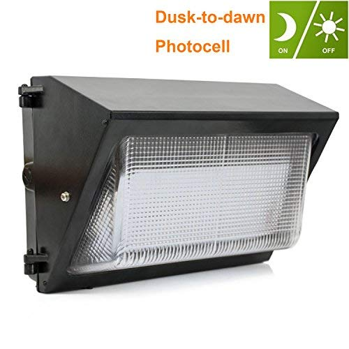JESLED 60W LED Wall Pack with Dusk-to-Dawn Photocell - 5000K Daylight, 7200lm, Outdoor Waterproof Security Light Fixture, 200-300 Watt HPS/HID Replacement, Industrial Residential Commercial Lighting