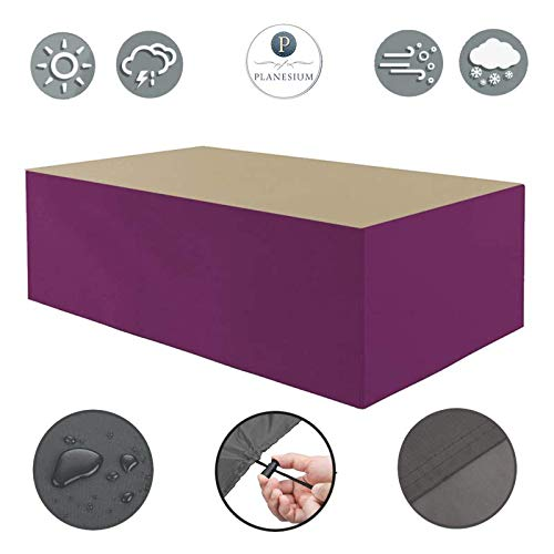 Planesium Premium - Funda protectora para mesa de jardín (575 g/lfm, 260 x 130 x 75 cm), color beige y burdeos