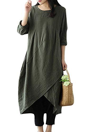 MAGIMODAC linnen jurk dames zomer lang tuniek jurk vintage baggy party jurken maxi-jurk strandjurk grote maat maat maat 38-50