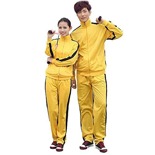 G-like Unisex Training Anzug Sportkleidung - Chinesische Kampfkunst Gelb Uniform Bruce Lee Kung Fu Tai Chi Wushu Jeet Kune Do Jogging Laufen Fitness für Männer Frauen Kinder - Nylon (M)