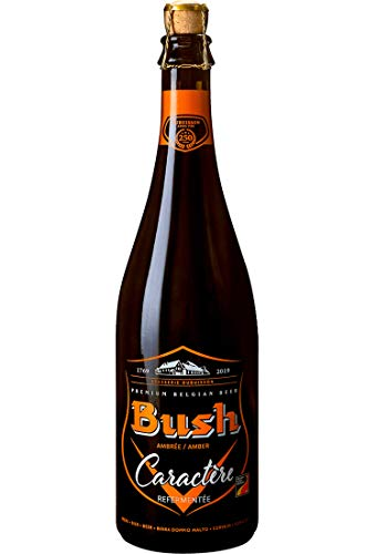 Bush Charaktere Ambree 0,75 l - belgisches Bier + Barley Wine + Tripel + Starkbier + große Bierflasche + Korkverschluss - edles Bier