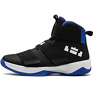 Customer reviews Men And Women Athletic Sneakers Autumn New Cushioning Breathable High Top Basketball Shoes Couple Models ( Color  Black blue , Size  38 )