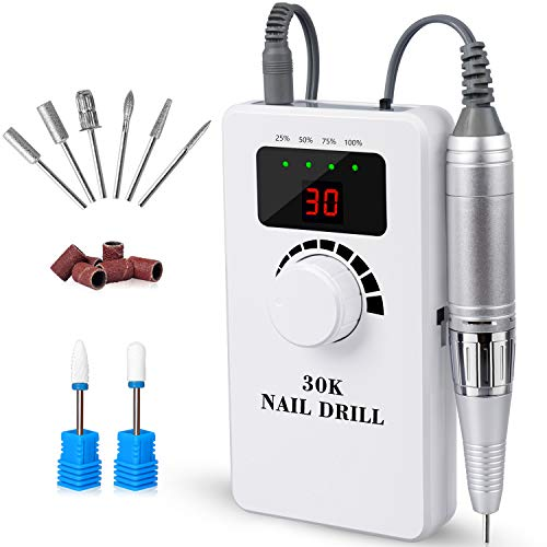 Professional Portable Nail Drill Machine -IMENE 30,000RMP Nails Drill Rechargeable Efile for Acrylic, Gel, Natural Nails - High Speed, Low Vibration for Salon techs or Home DIY Use