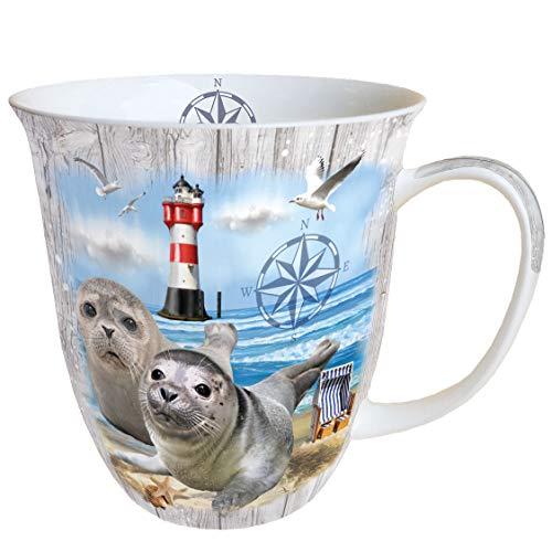 Ambiente Becher Mug Tasse Tee / Kaffee Becher ca. 0,4L Maritim Strand Seehund Seal Couple