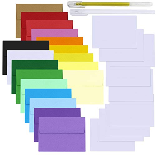 Supla 90 Sets 4x6 Blank White Cards with 18 Colored A4 Envelopes 4x6 Invitation Envelopes Mailing Photo Envelopes DIY Card Making Supplies for Wedding Holiday Baby Shower Party Stationery