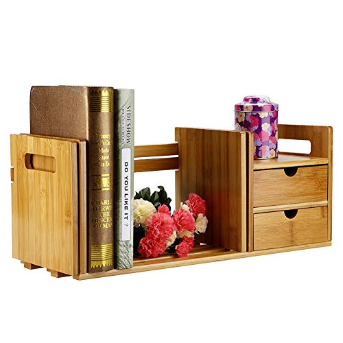 AYNEFY Tabletop Bookcase, Bamboo Wood Extendable Desk Tabletop Book Rack Bookshelves Bookcase Organizer with 2 Drawers for Bedroom, Living Room, Office, Study Room, 51 ~ 80.5 cm / 20.08 ~ 31.69 inches