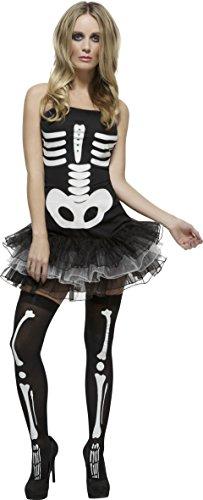 Smiffy'S 31969M Disfraz Fever De Esqueleto Con Vestido Tut Y Tirantes Transparentes Desmontables, Negro, L - Eu Tamao 44-46