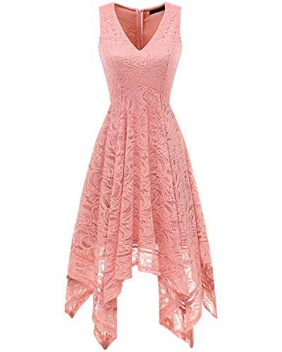 bridesmay Damen Sexy übergröße Spitzenkleid unregelmäßig Cocktailkleid Zipfel Kleid Sommerkleider Blush 2XL